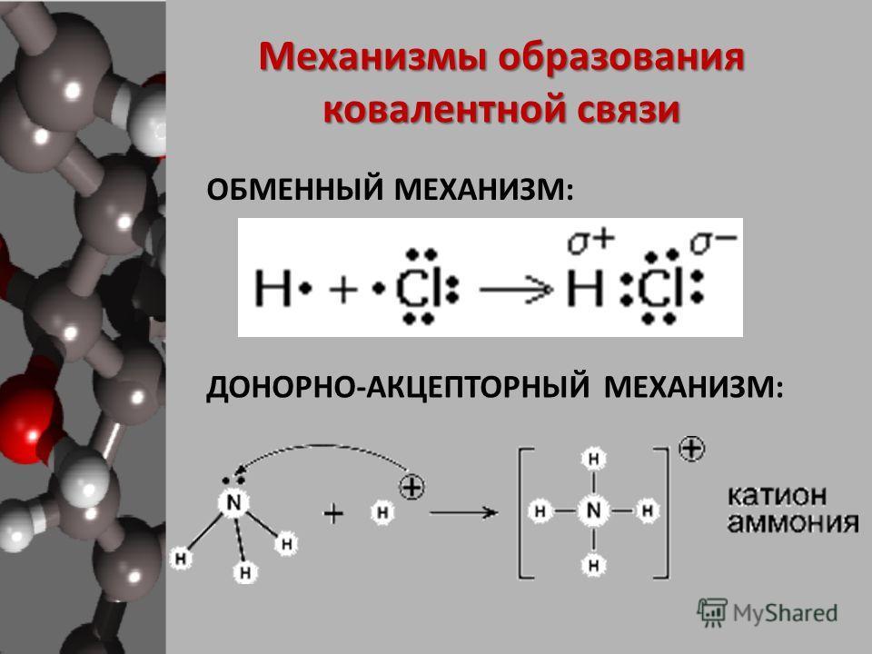 Механизмы образования ковалентной связи ОБМЕННЫЙ МЕХАНИЗМ: ДОНОРНО-АКЦЕПТОРНЫЙ МЕХАНИЗМ: