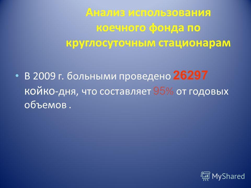 Анализ использования коечного фонда по круглосуточным стационарам В 2009 г. больными проведено 26297 койко -дня, что составляет 95 % от годовых объемов.