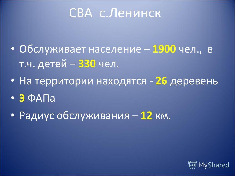 СВА с.Ленинск Обслуживает население – 1900 чел., в т.ч. детей – 330 чел. На территории находятся - 26 деревень З ФАПа Радиус обслуживания – 12 км.