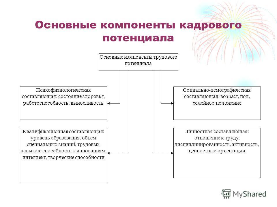 Основные компоненты кадрового потенциала Личностная составляющая: отношение к труду, дисциплинированность, активность, ценностные ориентации Социально-демографическая составляющая: возраст, пол, семейное положение Квалификационная составляющая: урове