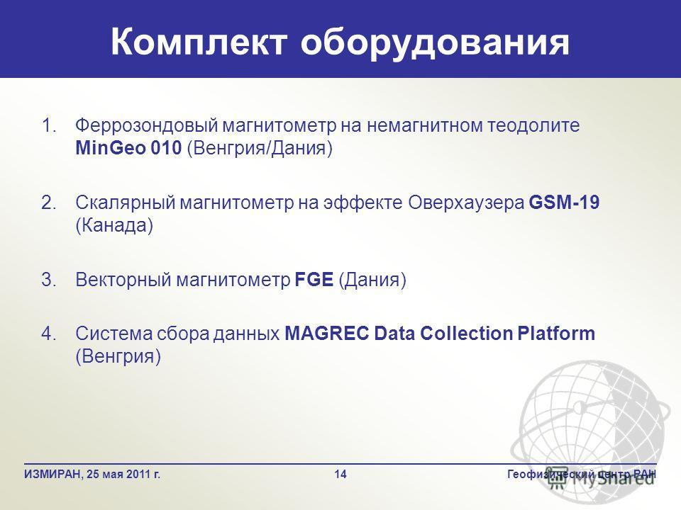 Комплект оборудования 14Геофизический центр РАНИЗМИРАН, 25 мая 2011 г. 1. 1.Феррозондовый магнитометр на немагнитном теодолите MinGeo 010 (Венгрия/Дания) 2. 2.Скалярный магнитометр на эффекте Оверхаузера GSM-19 (Канада) 3. 3.Векторный магнитометр FGE
