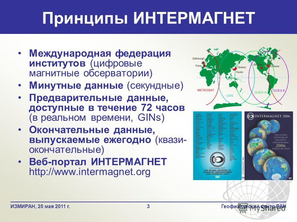 Международная федерация институтов (цифровые магнитные обсерватории) Минутные данные (секундные) Предварительные данные, доступные в течение 72 часов (в реальном времени, GINs) Окончательные данные, выпускаемые ежегодно (квази- окончательные) Веб-пор