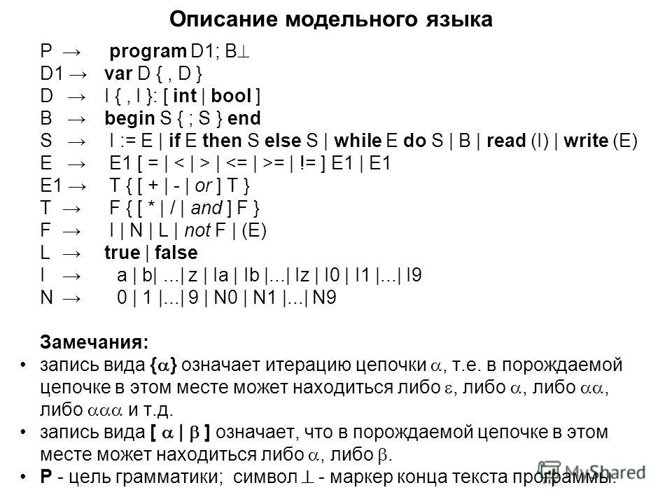 Описание модельного языка P program D1; B D1 var D {, D } D I {, I }: [ int | bool ] B begin S { ; S } end S I := E | if E then S else S | while E do S | B | read (I) | write (E) E E1 [ = | | = | != ] E1 | E1 E1 T { [ + | - | or ] T } T F { [ * | / |