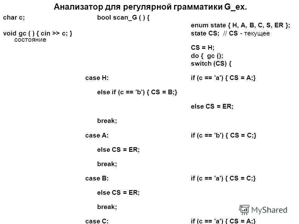 Анализатор для регулярной грамматики G_ex. char c;bool scan_G ( ) { enum state { H, A, B, C, S, ER }; void gc ( ) { cin >> c; }state CS; // CS - текущее состояние CS = H; do { gc (); switch (CS) { case H: if (c == 'a') { CS = A;} else if (c == 'b') {