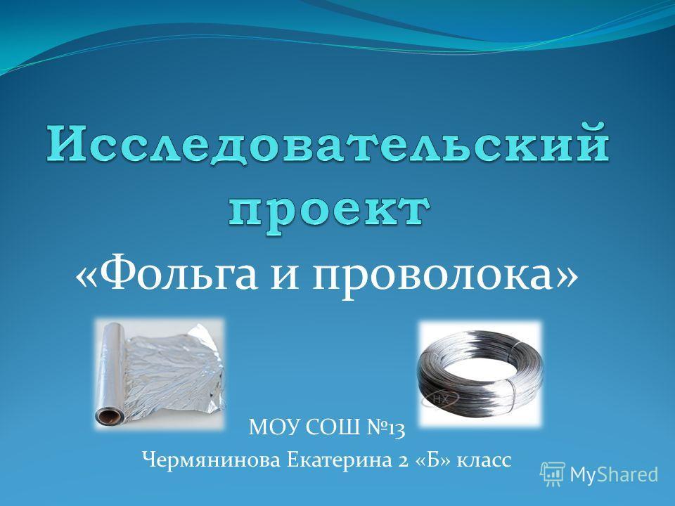 «Фольга и проволока» МОУ СОШ 13 Чермянинова Екатерина 2 «Б» класс