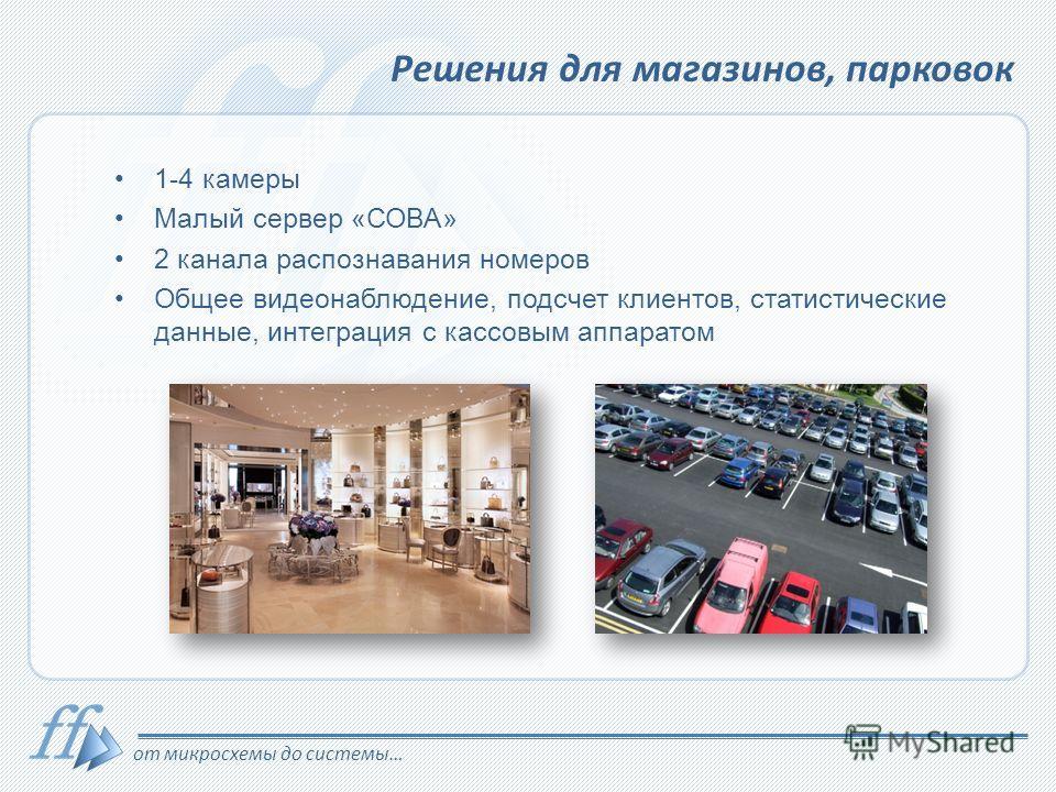 от микросхемы до системы… Решения для магазинов, парковок 1-4 камеры Малый сервер «СОВА» 2 канала распознавания номеров Общее видеонаблюдение, подсчет клиентов, статистические данные, интеграция с кассовым аппаратом