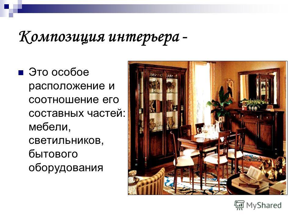 Композиция интерьера - Это особое расположение и соотношение его составных частей: мебели, светильников, бытового оборудования