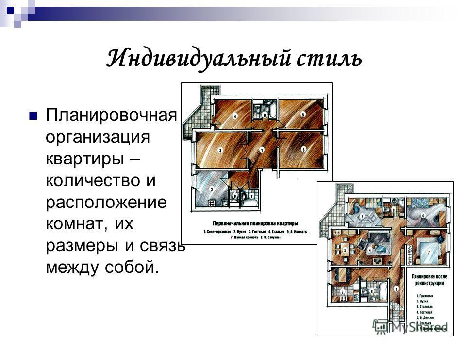 Индивидуальный стиль Планировочная организация квартиры – количество и расположение комнат, их размеры и связь между собой.