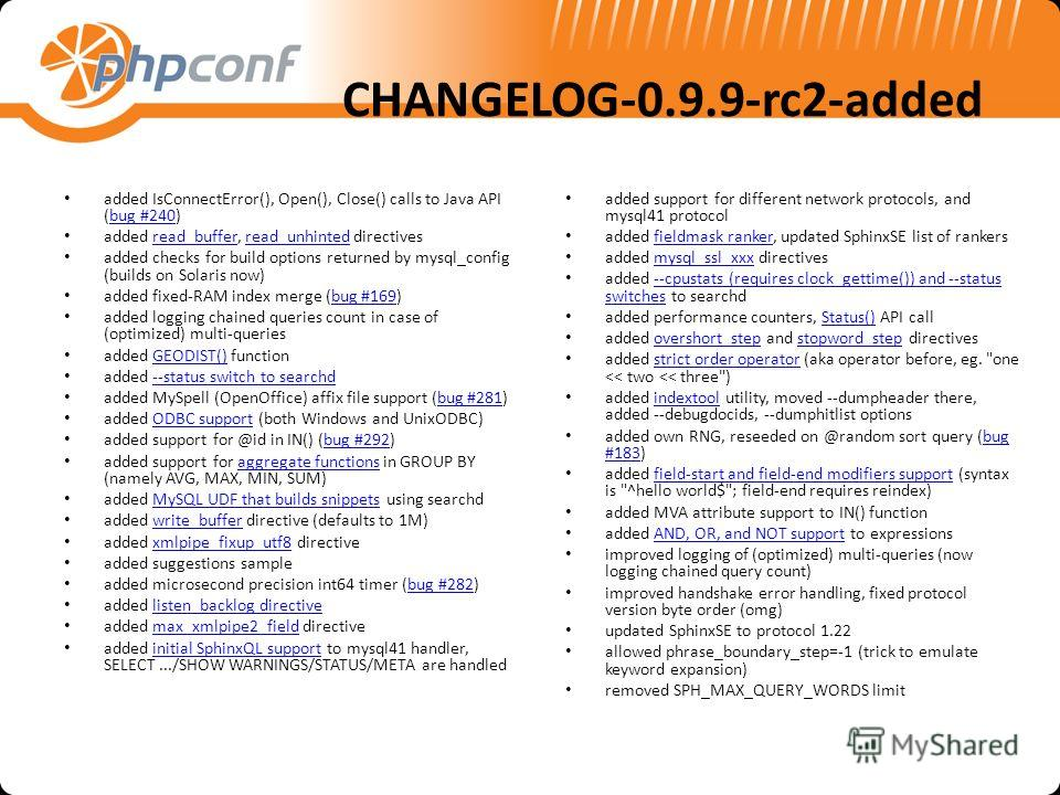 CHANGELOG-0.9.9-rc2-added added IsConnectError(), Open(), Close() calls to Java API (bug #240)bug #240 added read_buffer, read_unhinted directivesread_bufferread_unhinted added checks for build options returned by mysql_config (builds on Solaris now)