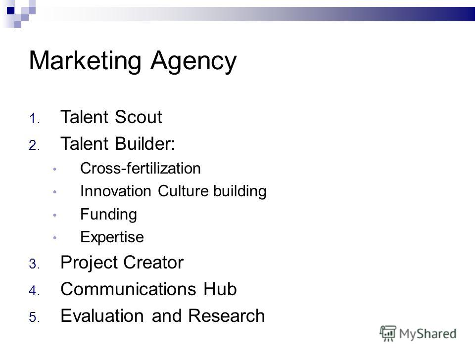 Marketing Agency 1. Talent Scout 2. Talent Builder: Cross-fertilization Innovation Culture building Funding Expertise 3. Project Creator 4. Communications Hub 5. Evaluation and Research