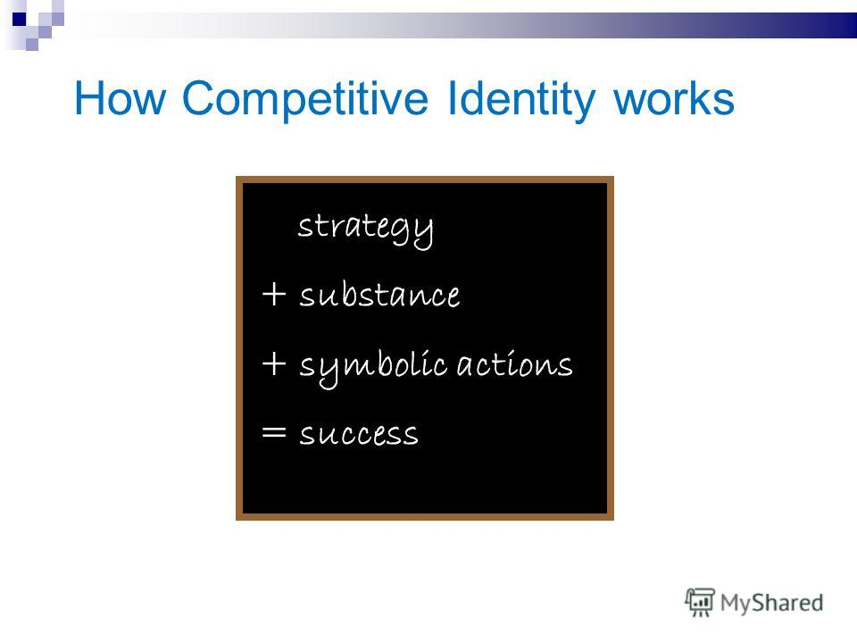 How Competitive Identity works strategy + substance + symbolic actions = success