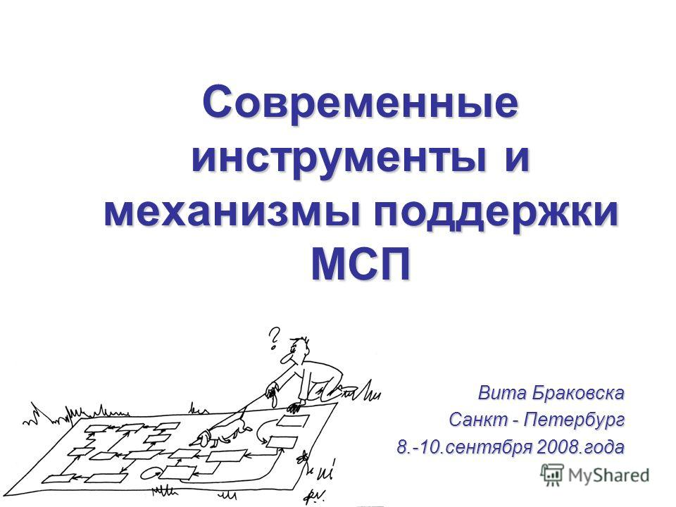 Современные инструменты и механизмы поддержки МСП Витa Браковска Санкт - Петербург 8.-10.сентября 2008.года