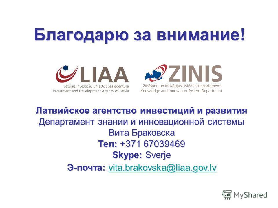 Благодарю за внимание! Латвийское агентство инвестиций и развития Департамент знании и инновационной системы Вита Браковска Тел: +371 67039469 Skype: Sverje Э-почта: vita.brakovska@liaa.gov.lv vita.brakovska@liaa.gov.lv