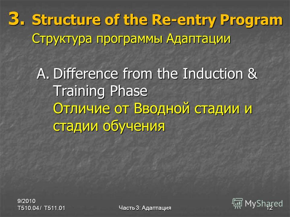 3. Structure of the Re-entry Program Структура программы Адаптации 3. Structure of the Re-entry Program Структура программы Адаптации A.Difference from the Induction & Training Phase Отличие от Вводной стадии и стадии обучения 9/2010 T510.04 / T511.0