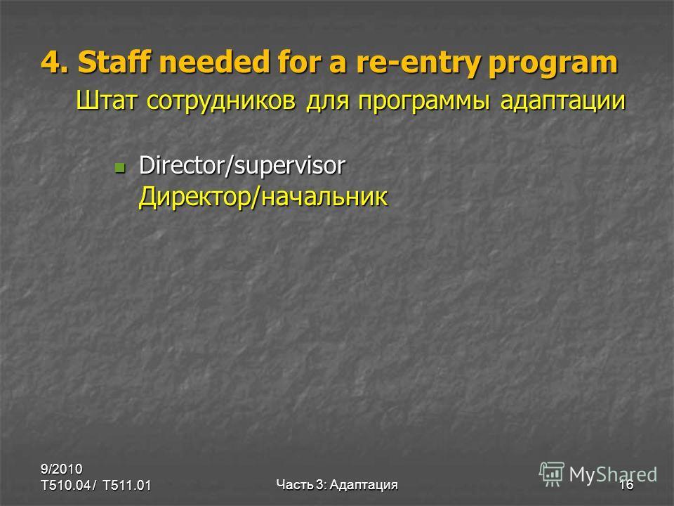 4. Staff needed for a re-entry program Штат сотрудников для программы адаптации Director/supervisor Директор/начальник Director/supervisor Директор/начальник 9/2010 T510.04 / T511.0116Часть 3: Адаптация