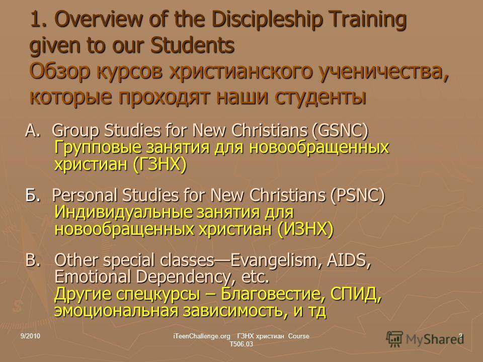 A. Group Studies for New Christians (GSNC) Групповые занятия для новообращенных христиан (ГЗНХ) Б. Personal Studies for New Christians (PSNC) Индивидуальные занятия для новообращенных христиан (ИЗНХ) B. Other special classesEvangelism, AIDS, Emotiona