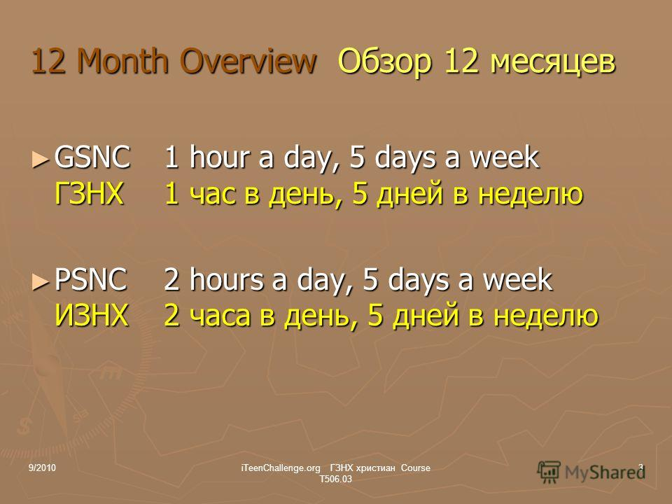 12 Month Overview Обзор 12 месяцев GSNC1 hour a day, 5 days a week ГЗНХ1 час в день, 5 дней в неделю GSNC1 hour a day, 5 days a week ГЗНХ1 час в день, 5 дней в неделю PSNC 2 hours a day, 5 days a week ИЗНХ2 часа в день, 5 дней в неделю PSNC 2 hours a