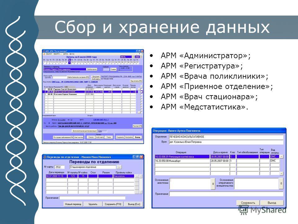 Сбор и хранение данных АРМ «Администратор»; АРМ «Регистратура»; АРМ «Врача поликлиники»; АРМ «Приемное отделение»; АРМ «Врач стационара»; АРМ «Медстатистика».