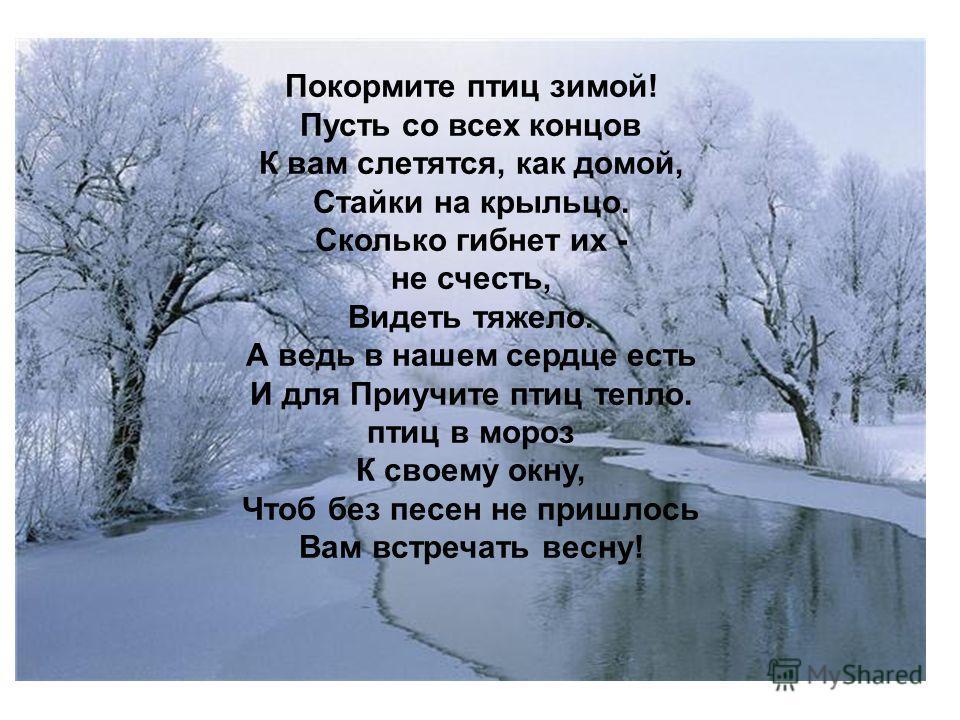 Покормите птиц зимой! Пусть со всех концов К вам слетятся, как домой, Стайки на крыльцо. Сколько гибнет их - не счесть, Видеть тяжело. А ведь в нашем сердце есть И для Приучите птиц тепло. птиц в мороз К своему окну, Чтоб без песен не пришлось Вам вс