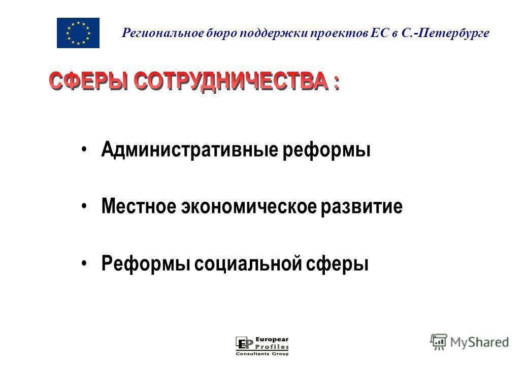 Административные реформы Местное экономическое развитие Реформы социальной сферы Региональное бюро поддержки проектов ЕС в С.-Петербурге