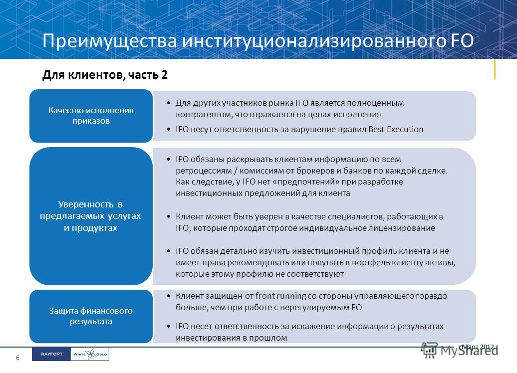 Март 2012 6 Для клиентов, часть 2 Для других участников рынка IFO является полноценным контрагентом, что отражается на ценах исполнения IFO несут ответственность за нарушение правил Best Execution Качество исполнения приказов IFO обязаны раскрывать к