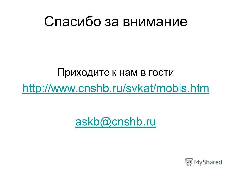 Спасибо за внимание Приходите к нам в гости http://www.cnshb.ru/svkat/mobis.htm askb@cnshb.ru