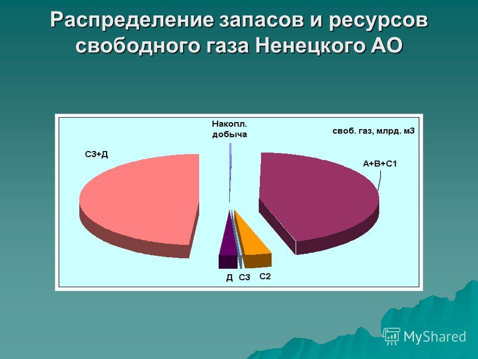 Распределение запасов и ресурсов свободного газа Ненецкого АО