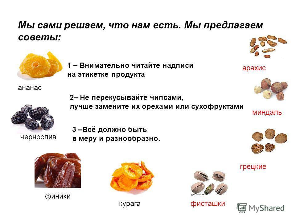 Мы сами решаем, что нам есть. Мы предлагаем советы: 1 – Внимательно читайте надписи на этикетке продукта 2– Не перекусывайте чипсами, лучше замените их орехами или сухофруктами 3 –Всё должно быть в меру и разнообразно. грецкие миндаль фисташки арахис