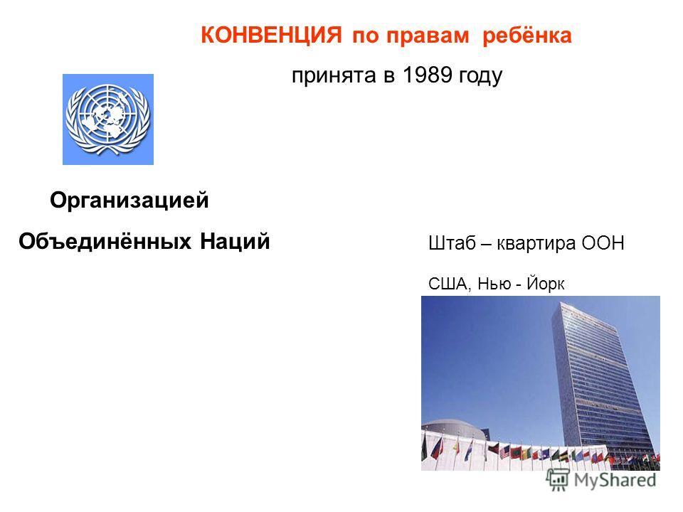 Организацией Объединённых Наций Штаб – квартира ООН США, Нью - Йорк КОНВЕНЦИЯ по правам ребёнка принята в 1989 году