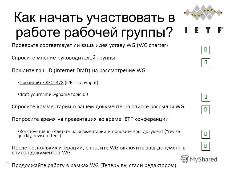 Как начать участвовать в работе рабочей группы? 12 Проверьте соответсвует ли ваша идея уставу WG (WG charter) Спросите мнение руководителей группы Пошлите ваш ID (Internet Draft) на рассмотрение WG Прочитайте RFC5378 (IPR + copyright) draft-yourname-