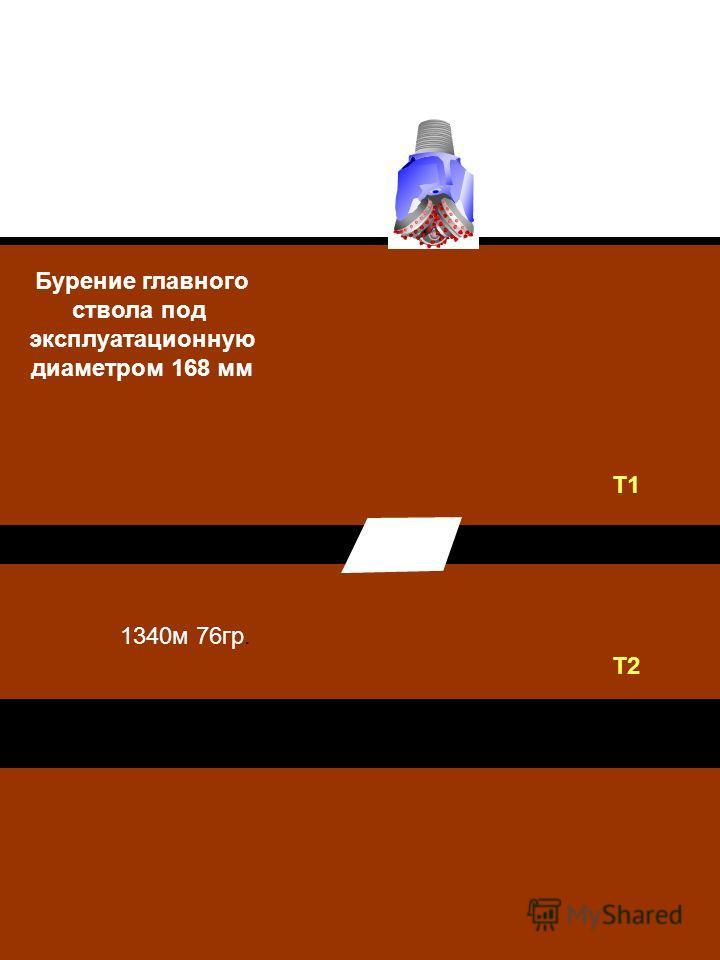 Бурение главного ствола под эксплуатационную диаметром 168 мм 1340м 76гр. Т1 Т2