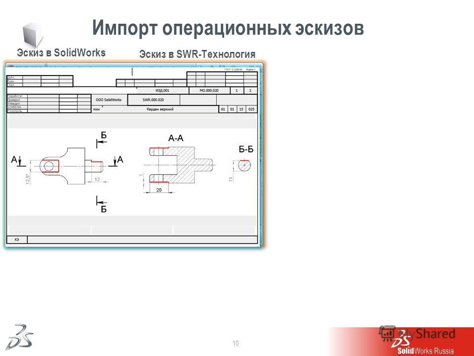 10 Импорт операционных эскизов Эскиз в SolidWorks Эскиз в SWR-Технология