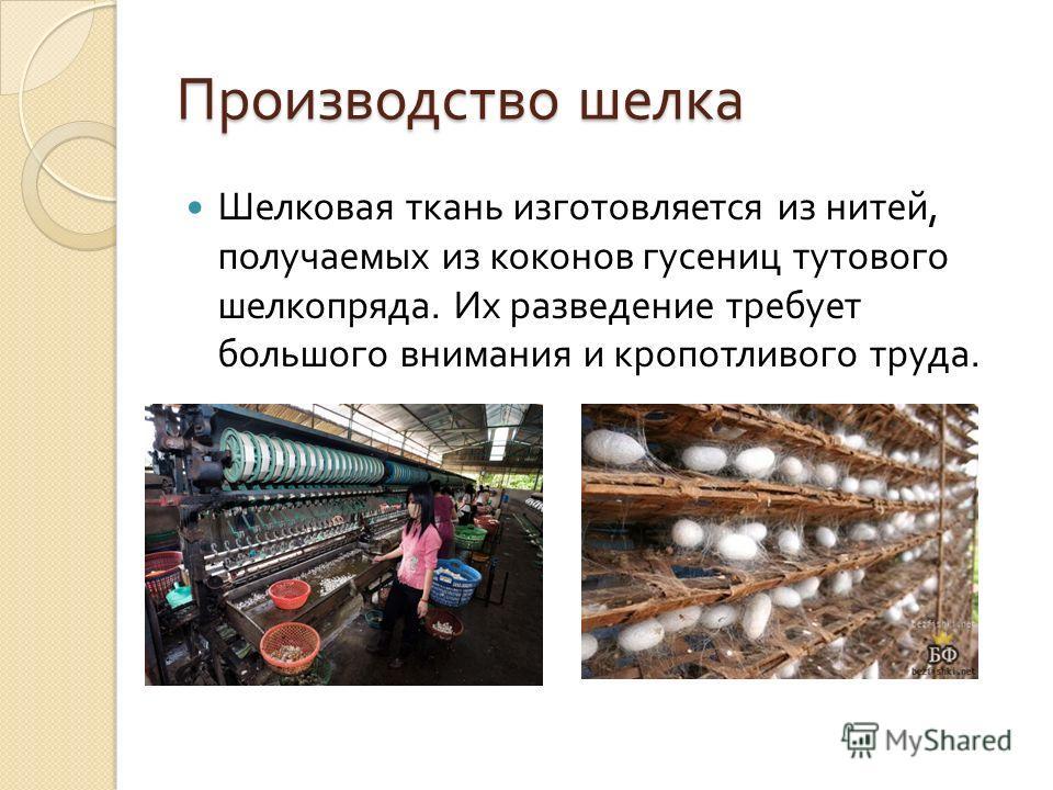Производство шелка Шелковая ткань изготовляется из нитей, получаемых из коконов гусениц тутового шелкопряда. Их разведение требует большого внимания и кропотливого труда.