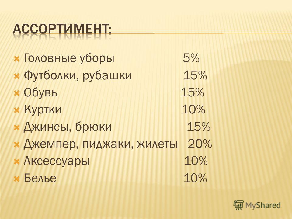 Головные уборы 5% Футболки, рубашки 15% Обувь 15% Куртки 10% Джинсы, брюки 15% Джемпер, пиджаки, жилеты 20% Аксессуары 10% Белье 10%