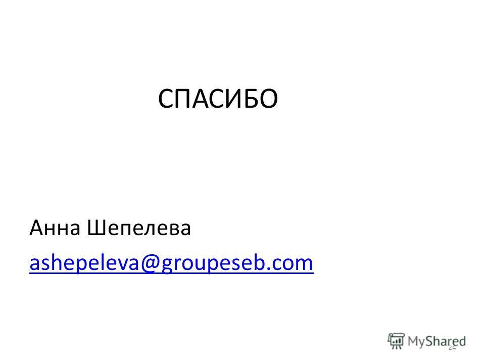 СПАСИБО Анна Шепелева ashepeleva@groupeseb.com 24