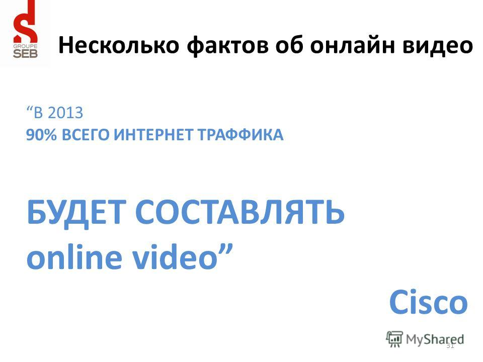 Несколько фактов об онлайн видео В 2013 90% ВСЕГО ИНТЕРНЕТ ТРАФФИКА БУДЕТ СОСТАВЛЯТЬ online video Cisco 31