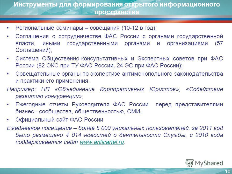 Инструменты для формирования открытого информационного пространства Региональные семинары – совещания (10-12 в год); Соглашения о сотрудничестве ФАС России с органами государственной власти, иными государственными органами и организациями (57 Соглаше