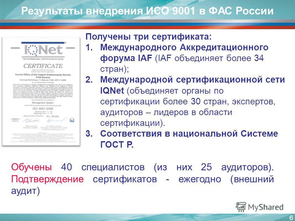 6 Результаты внедрения ИСО 9001 в ФАС России Получены три сертификата: 1.Международного Аккредитационного форума IAF (IAF объединяет более 34 стран); 2.Международной сертификационной сети IQNet (объединяет органы по сертификации более 30 стран, экспе
