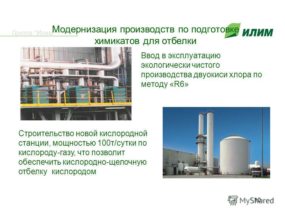 Модернизация производств по подготовке химикатов для отбелки Ввод в эксплуатацию экологически чистого производства двуокиси хлора по методу «R6» Строительство новой кислородной станции, мощностью 100т/сутки по кислороду-газу, что позволит обеспечить