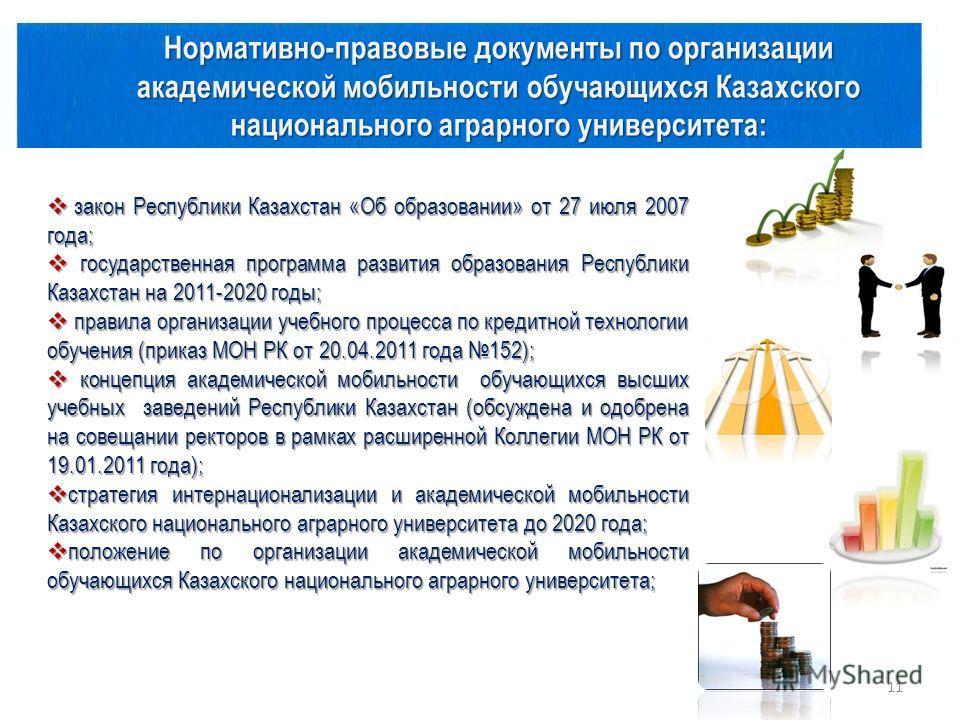 Нормативно-правовые документы по организации академической мобильности обучающихся Казахского национального аграрного университета: закон Республики Казахстан «Об образовании» от 27 июля 2007 года; закон Республики Казахстан «Об образовании» от 27 ию
