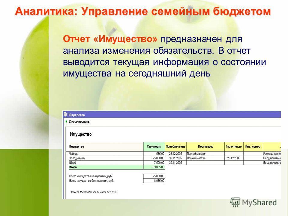 Аналитика: Управление семейным бюджетом Отчет «Имущество» предназначен для анализа изменения обязательств. В отчет выводится текущая информация о состоянии имущества на сегодняшний день