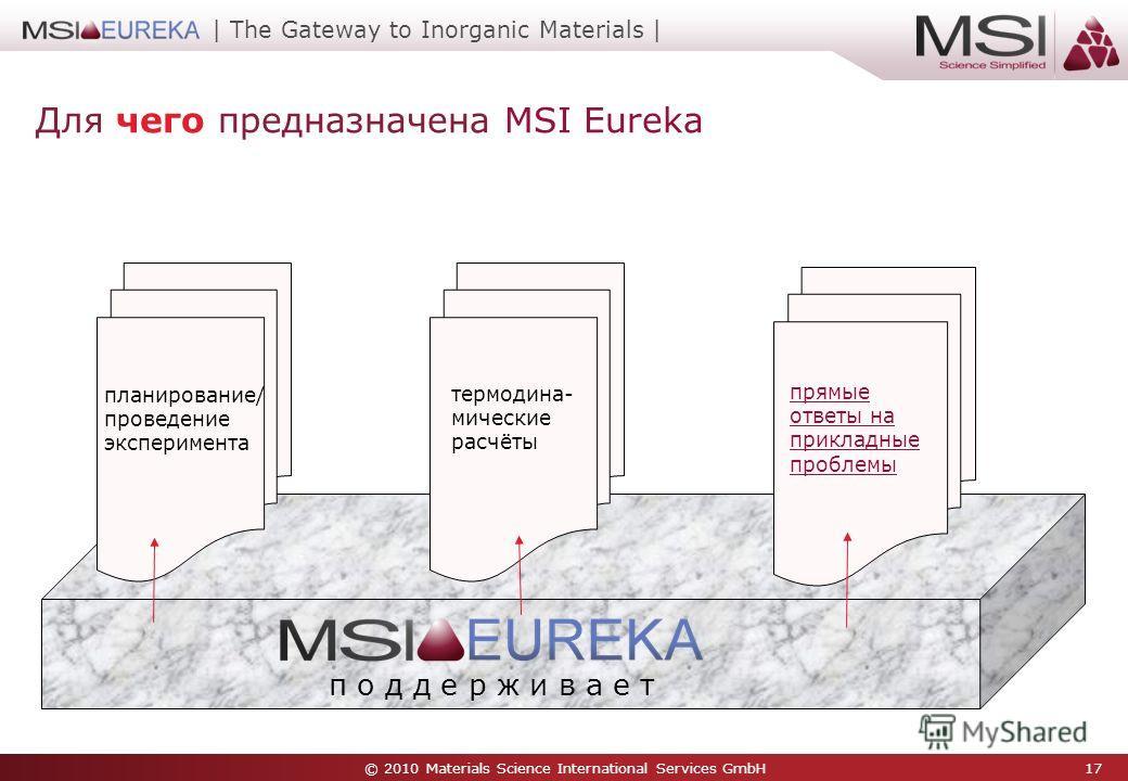 © 2010 Materials Science International Services GmbH 17 | The Gateway to Inorganic Materials | Для чего предназначена MSI Eureka п о д д е р ж и в а е т планирование/ проведение эксперимента термодина- мические расчёты прямые ответы на прикладные про