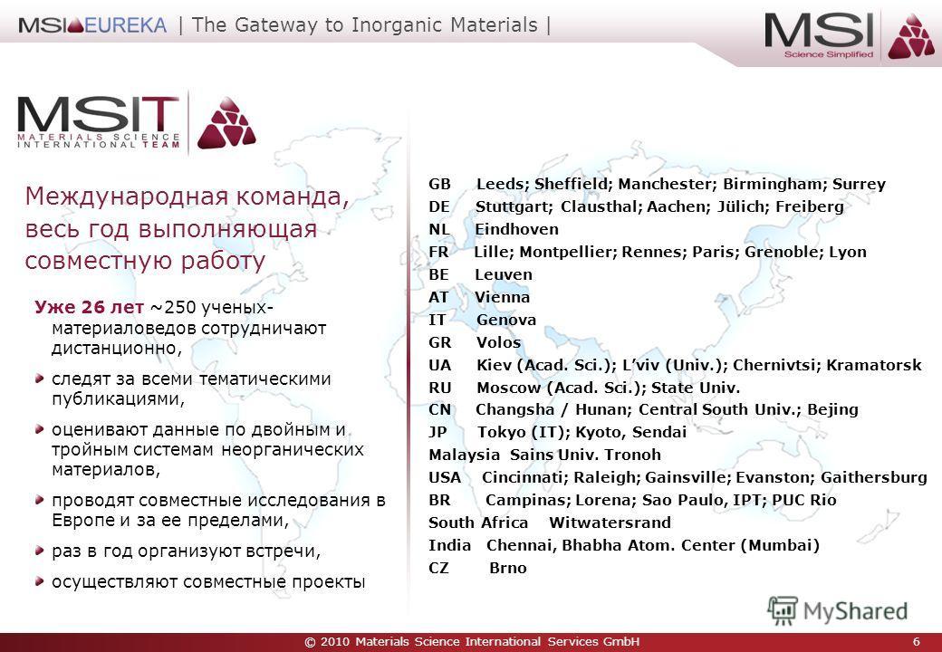 © 2010 Materials Science International Services GmbH 6 | The Gateway to Inorganic Materials | Уже 26 лет ~250 ученых- материаловедов сотрудничают дистанционно, следят за всеми тематическими публикациями, оценивают данные по двойным и тройным системам