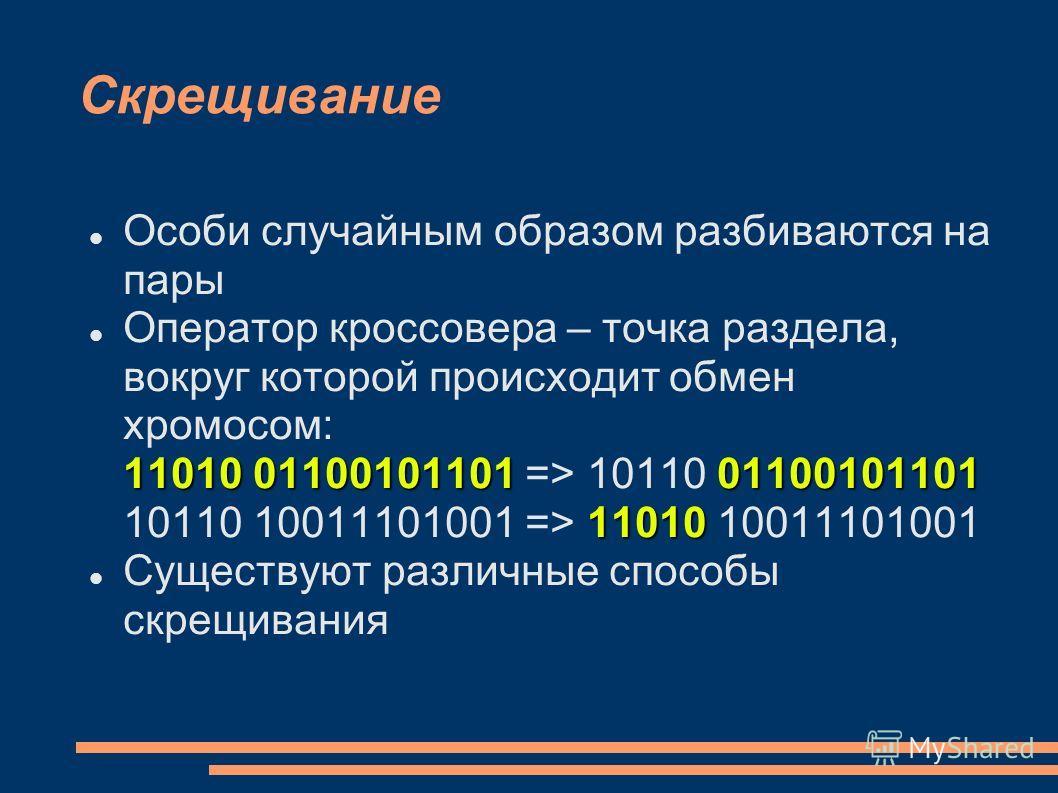 Скрещивание Особи случайным образом разбиваются на пары 11010 0110010110101100101101 11010 Оператор кроссовера – точка раздела, вокруг которой происходит обмен хромосом: 11010 01100101101 => 10110 01100101101 10110 10011101001 => 11010 10011101001 Су