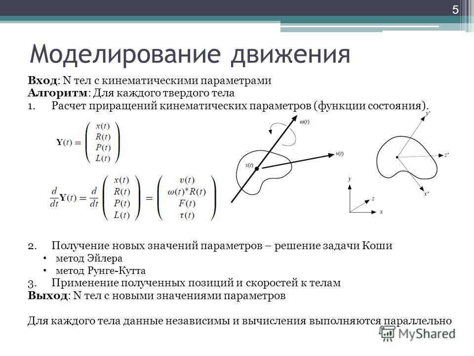 Моделирование движения Вход: N тел с кинематическими параметрами Алгоритм: Для каждого твердого тела 1.Расчет приращений кинематических параметров (функции состояния). 2.Получение новых значений параметров – решение задачи Коши метод Эйлера метод Рун