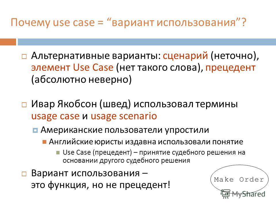 Почему use case = вариант использования? Альтернативные варианты: сценарий (неточно), элемент Use Case (нет такого слова), прецедент (абсолютно неверно) Ивар Якобсон (швед) использовал термины usage case и usage scenario Американские пользователи упр