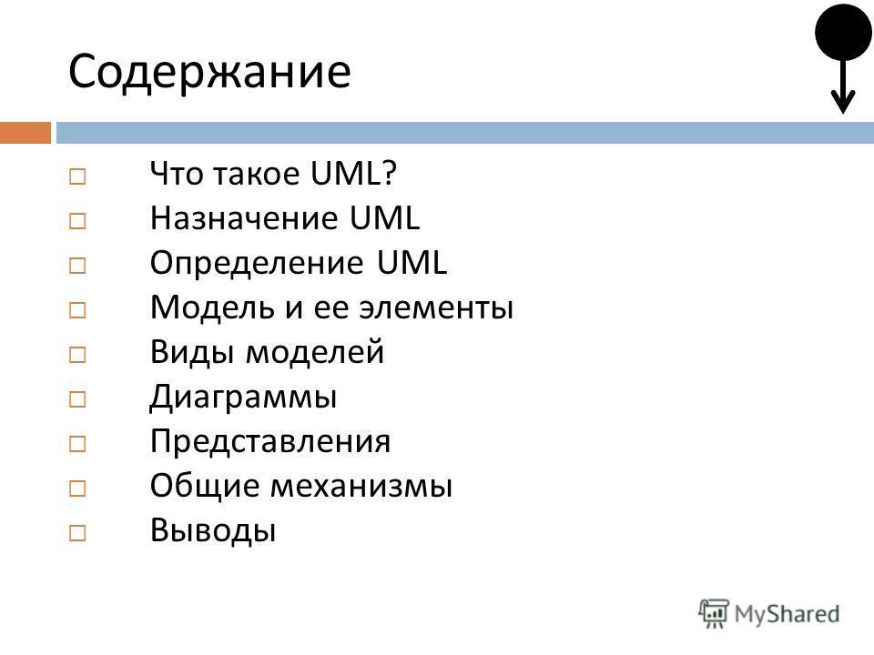 Содержание Что такое UML? Назначение UML Определение UML Модель и ее элементы Виды моделей Диаграммы Представления Общие механизмы Выводы