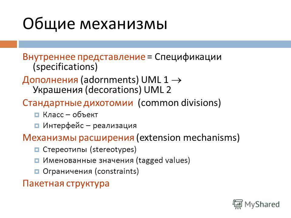 Общие механизмы Внутреннее представление = Спецификации (specifications) Дополнения (adornments) UML 1 Украшения (decorations) UML 2 Стандартные дихотомии (common divisions) Класс – объект Интерфейс – реализация Механизмы расширения (extension mechan