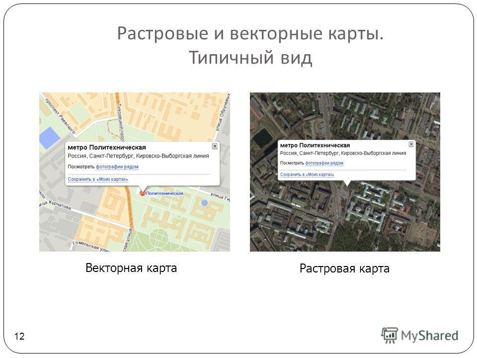 Растровые и векторные карты. Типичный вид 12 Векторная карта Растровая карта