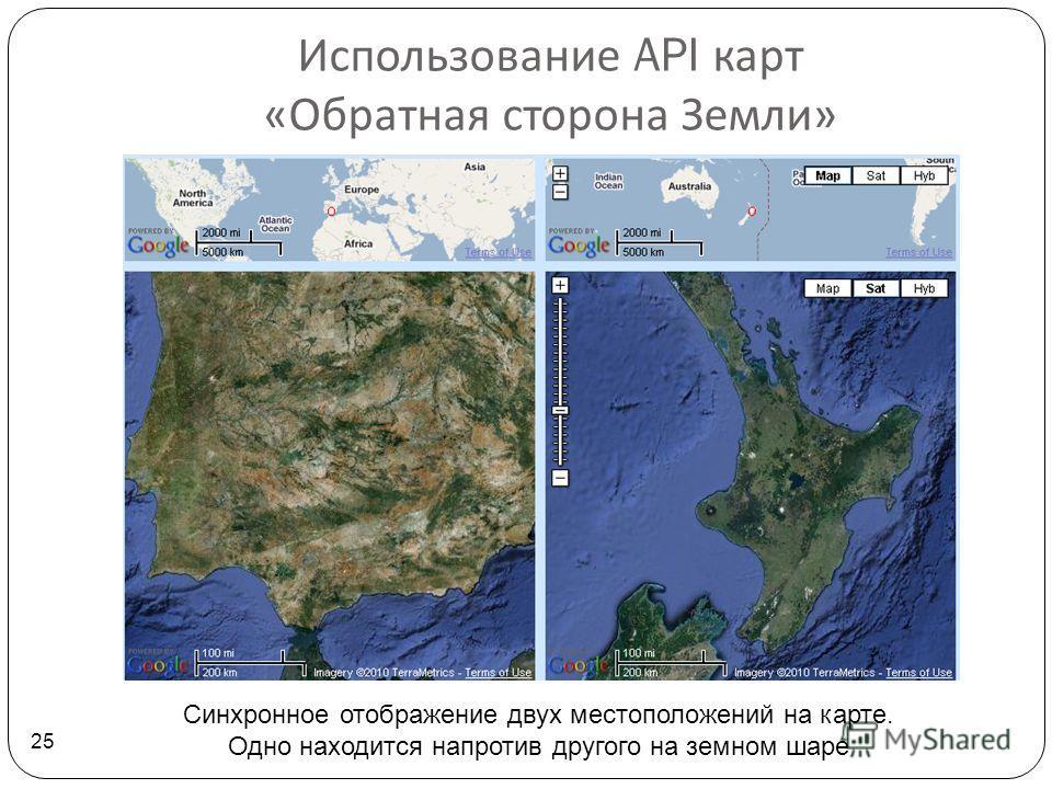 Использование API карт « Обратная сторона Земли » 25 Синхронное отображение двух местоположений на карте. Одно находится напротив другого на земном шаре